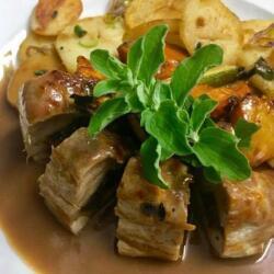 Blue Spice Restaurant Pork Fillet Stuffed With Dates In Commandaria Sauce